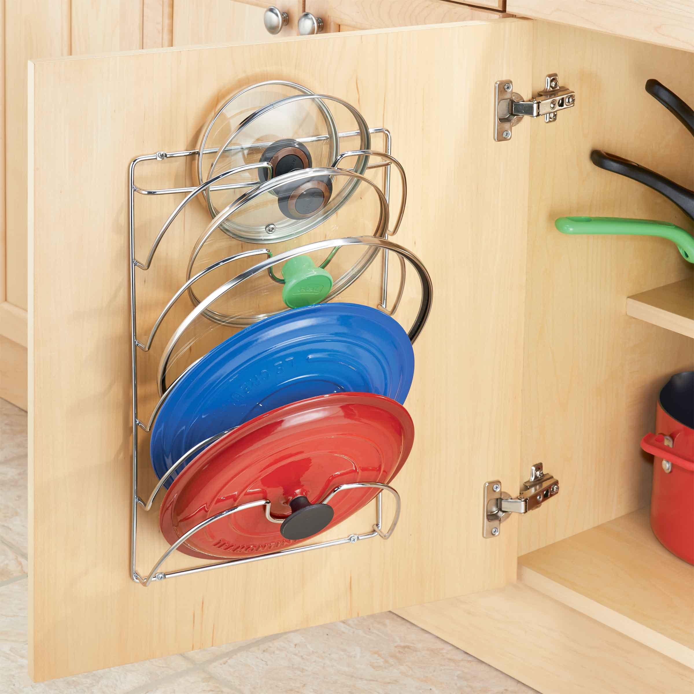 Système de rangement mural en métal pour couvercles de casseroles