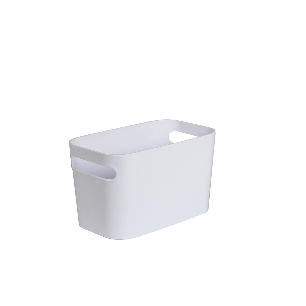 bac en plastique blanc rectangulaire avec 2 poignées