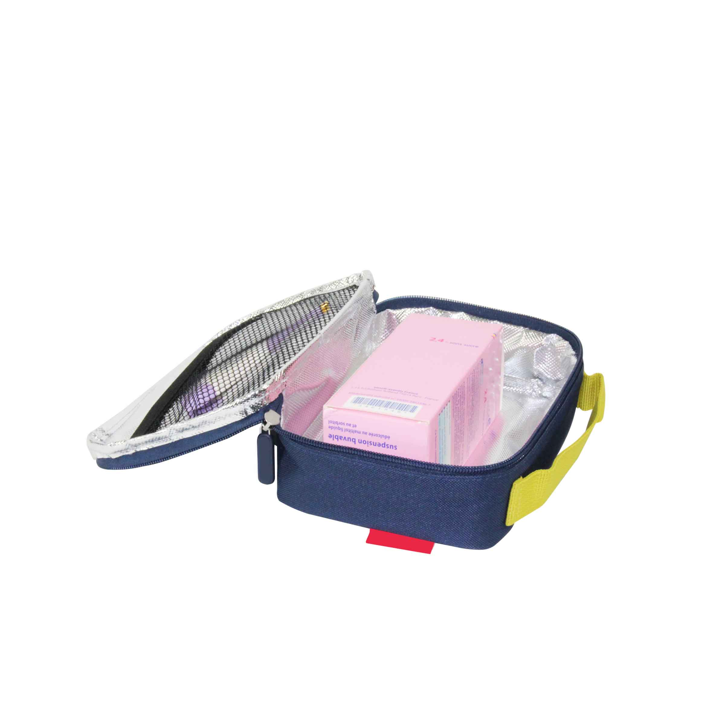 Trousse isotherme zippée en tissu bleu marine pour médicaments et crèmes saolaires